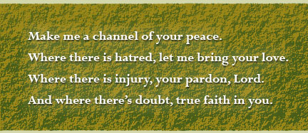 verse one, prayer of st. francis of assissi